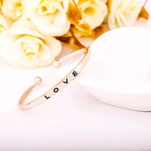 Open Bangle Adjustable Love Engraved Rose Gold
